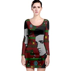 Elvis Presley   Christmas Long Sleeve Bodycon Dress
