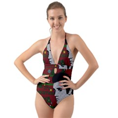 Elvis Presley   Christmas Halter Cut Out One Piece Swimsuit