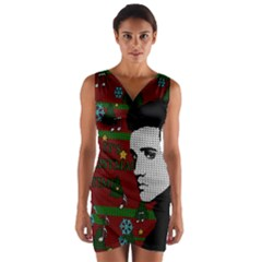 Elvis Presley   Christmas Wrap Front Bodycon Dress