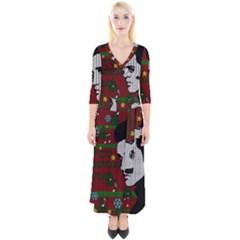 Elvis Presley   Christmas Quarter Sleeve Wrap Maxi Dress