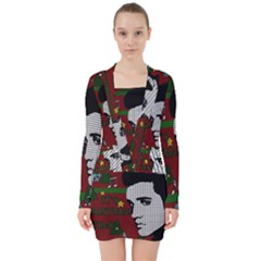 Elvis Presley   Christmas V Neck Bodycon Long Sleeve Dress