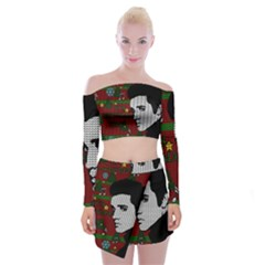 Elvis Presley   Christmas Off Shoulder Top With Mini Skirt Set