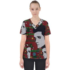 Elvis Presley   Christmas Scrub Top