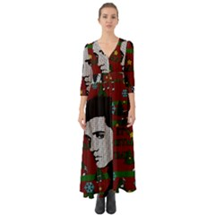 Elvis Presley   Christmas Button Up Boho Maxi Dress