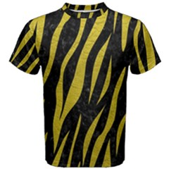 Skin3 Black Marble & Yellow Leather (r) Men s Cotton Tee