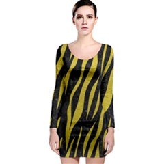 Skin3 Black Marble & Yellow Leather (r) Long Sleeve Bodycon Dress