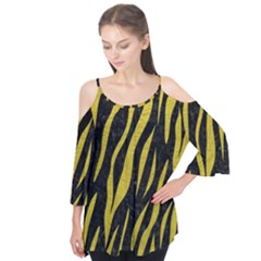 Skin3 Black Marble & Yellow Leather (r) Flutter Tees