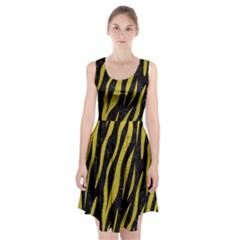 Skin3 Black Marble & Yellow Leather (r) Racerback Midi Dress