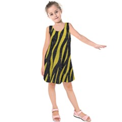 Skin3 Black Marble & Yellow Leather (r) Kids  Sleeveless Dress