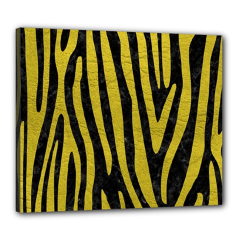 Skin4 Black Marble & Yellow Leather Canvas 24  X 20