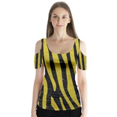 Skin4 Black Marble & Yellow Leather Butterfly Sleeve Cutout Tee