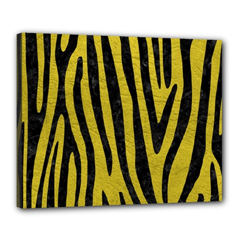 Skin4 Black Marble & Yellow Leather (r) Canvas 20  X 16