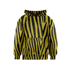 Skin4 Black Marble & Yellow Leather (r) Kids  Pullover Hoodie