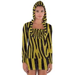 Skin4 Black Marble & Yellow Leather (r) Long Sleeve Hooded T Shirt