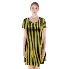 Skin4 Black Marble & Yellow Leather (r) Short Sleeve V Neck Flare Dress