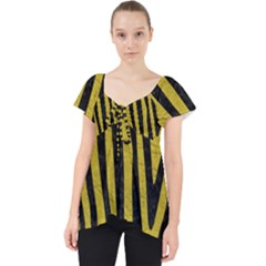 Skin4 Black Marble & Yellow Leather (r) Lace Front Dolly Top