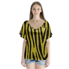 Skin4 Black Marble & Yellow Leather (r) V Neck Flutter Sleeve Top