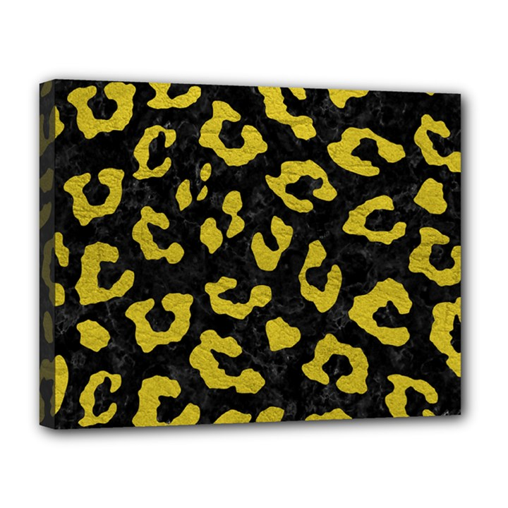 SKIN5 BLACK MARBLE & YELLOW LEATHER Canvas 14  x 11