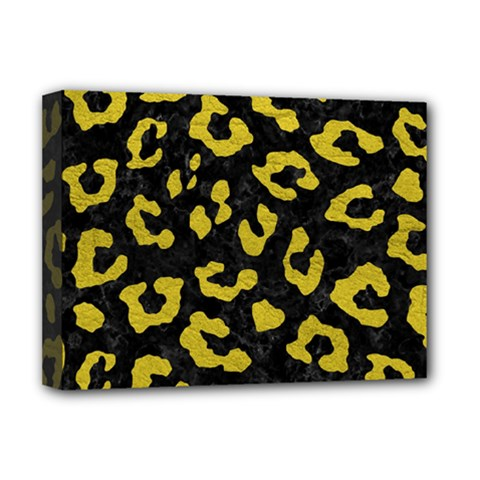 Skin5 Black Marble & Yellow Leather Deluxe Canvas 16  X 12