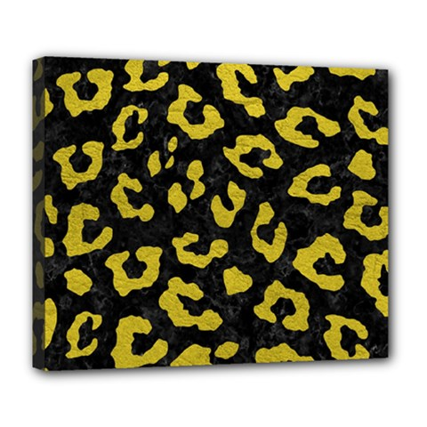 Skin5 Black Marble & Yellow Leather Deluxe Canvas 24  X 20