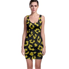 Skin5 Black Marble & Yellow Leather Bodycon Dress