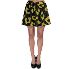 Skin5 Black Marble & Yellow Leather Skater Skirt