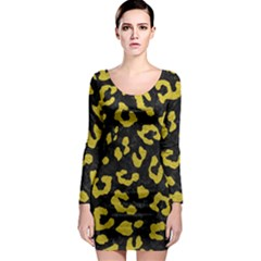 Skin5 Black Marble & Yellow Leather Long Sleeve Bodycon Dress