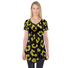 Skin5 Black Marble & Yellow Leather Short Sleeve Tunic