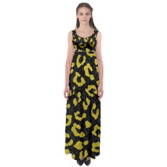 Skin5 Black Marble & Yellow Leather Empire Waist Maxi Dress