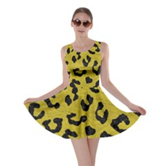 Skin5 Black Marble & Yellow Leather (r) Skater Dress