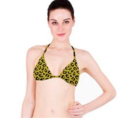 Skin5 Black Marble & Yellow Leather (r) Bikini Top