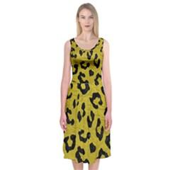Skin5 Black Marble & Yellow Leather (r) Midi Sleeveless Dress