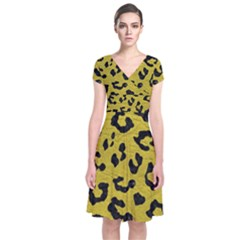 Skin5 Black Marble & Yellow Leather (r) Short Sleeve Front Wrap Dress