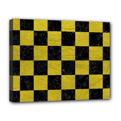 Square1 Black Marble & Yellow Leather Canvas 14  X 11