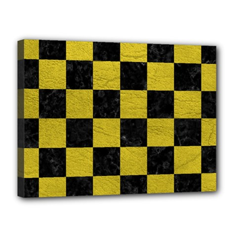 Square1 Black Marble & Yellow Leather Canvas 16  X 12