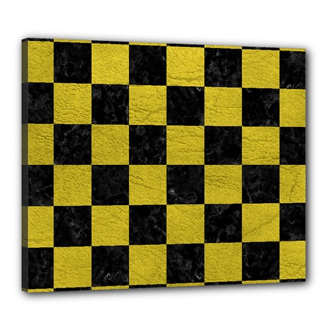 Square1 Black Marble & Yellow Leather Canvas 24  X 20