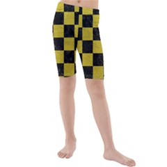 Square1 Black Marble & Yellow Leather Kids  Mid Length Swim Shorts