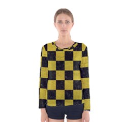 Square1 Black Marble & Yellow Leather Women s Long Sleeve Tee