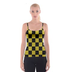 Square1 Black Marble & Yellow Leather Spaghetti Strap Top