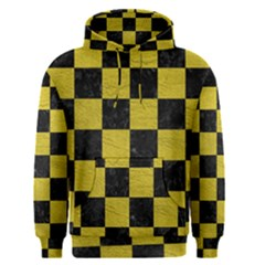 Square1 Black Marble & Yellow Leather Men s Pullover Hoodie