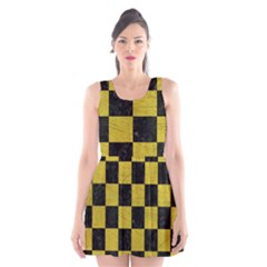 Square1 Black Marble & Yellow Leather Scoop Neck Skater Dress