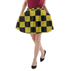 Square1 Black Marble & Yellow Leather A Line Pocket Skirt