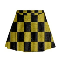 Square1 Black Marble & Yellow Leather Mini Flare Skirt
