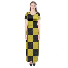 Square1 Black Marble & Yellow Leather Short Sleeve Maxi Dress
