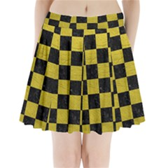 Square1 Black Marble & Yellow Leather Pleated Mini Skirt