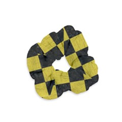 Square1 Black Marble & Yellow Leather Velvet Scrunchie
