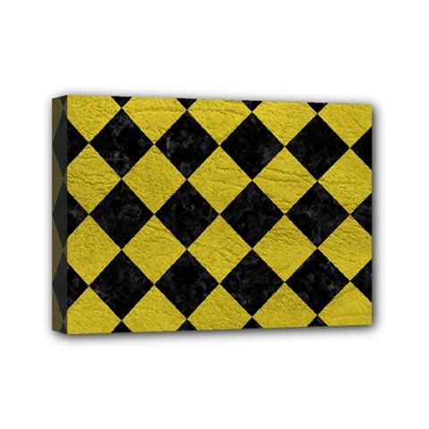 Square2 Black Marble & Yellow Leather Mini Canvas 7  X 5