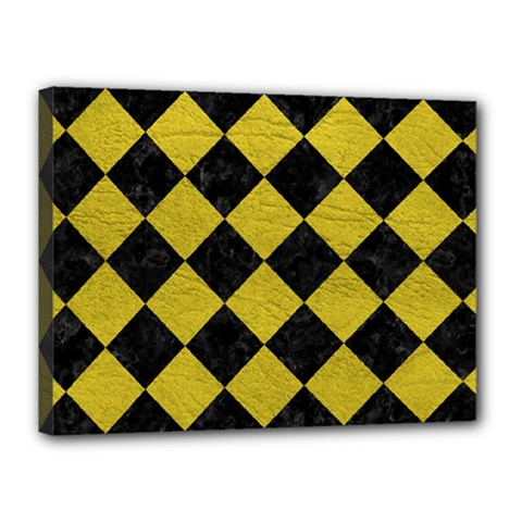 Square2 Black Marble & Yellow Leather Canvas 16  X 12