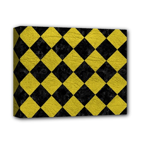 Square2 Black Marble & Yellow Leather Deluxe Canvas 14  X 11