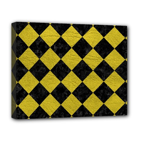 Square2 Black Marble & Yellow Leather Deluxe Canvas 20  X 16
